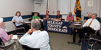 Carol Shea-Porter and Andrew Hosmer address questions asked by Belknap County Democrats Tuesday evening at the Laconia Police Station.  (Karen Bobotas/for the Laconia Daily Sun)