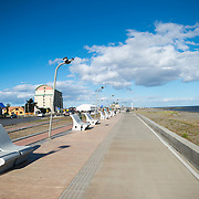 The waterfront of the Strait of Magellan in Punta Arenas, Chile. The city is the largest south of the 46th parallel south and capital city of Chile's southernmost region of Magallanes and Antartica Chilena.