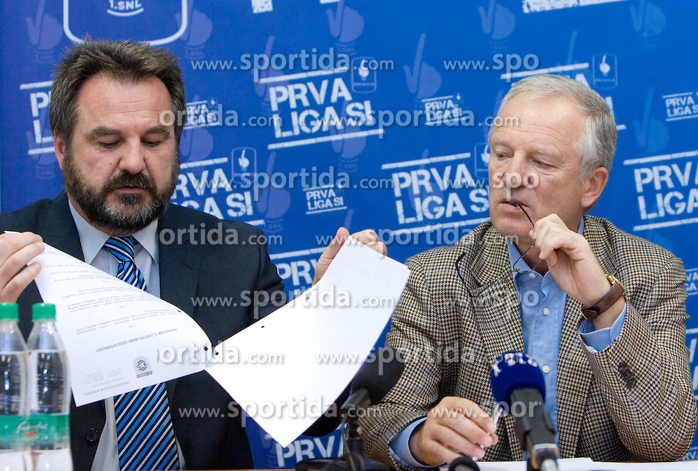 Stane Orazem in Branko Florjanic at press conference of ZNPL, on November 10, 2009, in Ljubljana, Slovenia.   (Photo by Vid Ponikvar / Sportida)