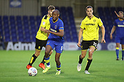 AFC Wimbledon Jimmy Abdou (8) dribbling during the Pre-Season Friendly match between AFC Wimbledon and Burton Albion at the Cherry Red Records Stadium, Kingston, England on 21 July 2017. Photo by Matthew Redman.