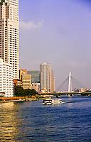 Sumida River looking north from Kachidoki Bridge, Tokyo, Japan