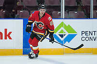 PENTICTON, CANADA - SEPTEMBER 16: Dillon Dube #59 of Calgary Flames warms up against the Winnipeg Jets on September 16, 2016 at the South Okanagan Event Centre in Penticton, British Columbia, Canada.  (Photo by Marissa Baecker/Shoot the Breeze)  *** Local Caption *** Dillon Dube;