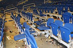 20.03.2015, O2 World, Berlin, GER, SPO, Basketball, Euro League, Alba Berlin vs Galatasaray Istanbul, Achtelfinale, im Bild Die Galatasaray Fans hinterliessen in ihrem Fanblock ein Truemmerfeld // SPO during the Basketball Euro League group of last sixteen match between Alba Berlin and Galatasaray Istanbul at the O2 World in Berlin, Germany on 2015/03/20. EXPA Pictures © 2015, PhotoCredit: EXPA/ Eibner-Pressefoto/ Hundt<br /> <br /> *****ATTENTION - OUT of GER*****