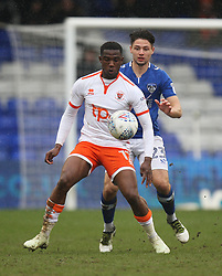 Viv Solomon-Otabor of Blackpool (L) and Rob Hunt of Oldham Athletic in action - Mandatory by-line: Jack Phillips/JMP - 02/04/2018 - FOOTBALL - Sportsdirect.com Park - Oldham, England - Oldham Athletic v Blackpool - Football League One