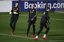 March 23, 2019 - Nicosie, France - Koen Casteels  goalkeeper of Belgium and Thibaut Courtois goalkeeper of Belgium and Simon Mignolet goalkeeper of Belgium (Credit Image: © Panoramic via ZUMA Press)