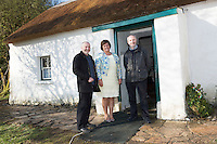 28/03/2016  Edel Ni Chuireain Ceannaire RTE Raidio na Gaeltachta with Great Grand Nephews of Patrick Pears Fearghas Mac Lochlainn and his brother Eoin Mac Lochlainn at Pearse's Cottage, Teach an Phiarsaigh, in Rosmuc in Connemara during a special broadcast of RT&Eacute; Raidi&oacute; na Gaeltachta programme Adhmhaidin on Easter Monday 28 March 2016.  <br /> <br /> Patrick Pearse used the cottage as a summer house, and also as summer school for his pupils from St Enda&rsquo;s school in Dublin.  He was inspired by the people and the culture of the area, and it is said that he composed the graveside oration he gave at O&rsquo;Donovan Rossa&rsquo;s funeral in 1915 there.<br /> <br /> The broadcast was to commemorate the centenary of the Easter Rising, and also marked 30 years on air for the programme.  <br /> Photo:Andrew Downes, xposure.