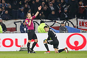 Ruddy Buquet referee and Gorgelin Mathieu of Lyon during the French Championship Ligue 1 football match between Olympique Lyonnais and AS Saint-Etienne on february 25, 2018 at Groupama stadium in Décines-Charpieu near Lyon, France - Photo Romain Biard / Isports / ProSportsImages / DPPI