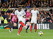 Goal scored by Tammy Abraham of England from the penalty spot during the U21 UEFA EURO first qualifying round match between England and Scotland at the Riverside Stadium, Middlesbrough, England on 6 October 2017. Photo by Paul Thompson.