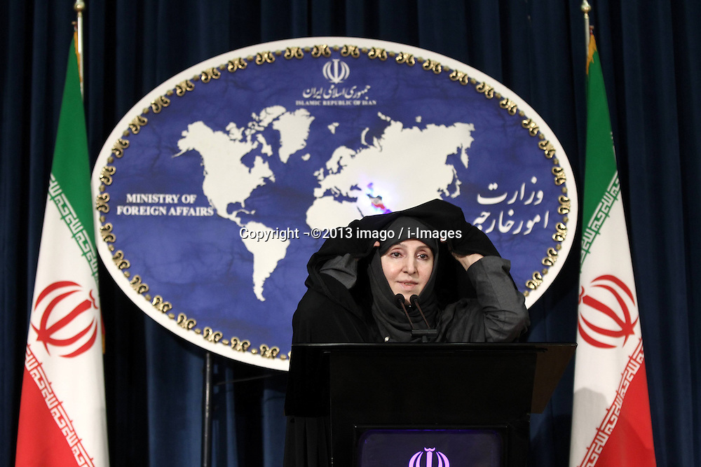 60454632<br /> Iranian new Foreign Ministry spokeswoman Marzieh Afkham speaks during her first weekly press briefing in Tehran, capital of Iran, on Sept. 10, 2013. Afkham announced on Tuesday that Iran supported the Russian proposal to place Syrian chemical weapons under international control, Tehran, Iran, September 10, 2013.<br /> Picture by imago / i-Images<br /> UK ONLY