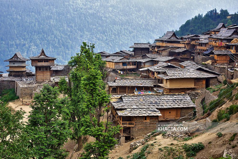 A traditional Himalayan village of Dodra, in Dodra-Kwar region of the Indian Himalayas situated in Rohru, Shimla, Himachal Pradesh
