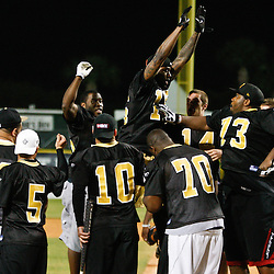 May 17, 2011; Metairie, LA, USA; New Orleans Saints wide receiver Courtney Roby (15) celebrates with teammates after hitting a homerun during the Heath Evans Foundation charity softball showdown featuring the offense versus the defensive players at Zephyrs Field.  Mandatory Credit: Derick E. Hingle