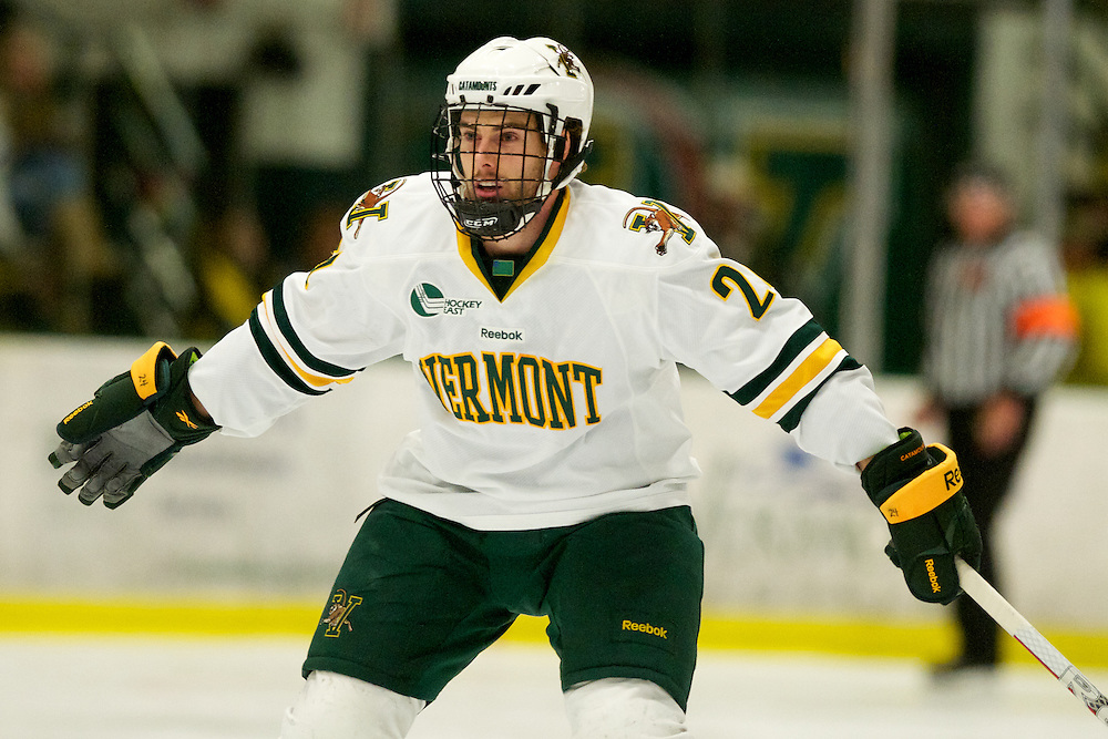 The mens hockey game between the Merrimack Warriors and the Vermont Catamounts at Gutterson Fieldhouse on Friday night October 28, 2011 in Burlington, Vermont.