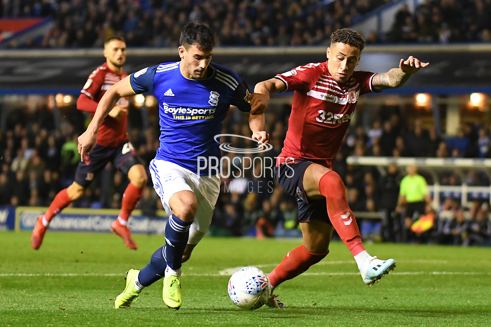 Middlesbrough midfielder Marcus Tavernier (7) battles for possession  with Birmingham City defender Maxime Colin (5) during the EFL Sky Bet Championship match between Birmingham City and Middlesbrough at the Trillion Trophy Stadium, Birmingham, England on 4 October 2019.