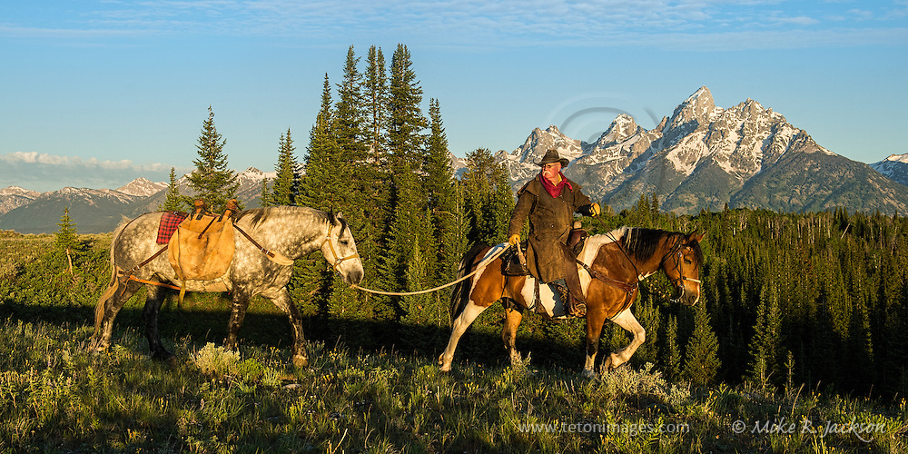 Morning sun light finally reaches the valley floor as a wrangler and pack horse make their way across the ridge line in Jackson Hole, WY.