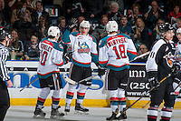 KELOWNA, CANADA - FEBRUARY 10: Nolan Foote #29 of the Kelowna Rockets celebrates his second goal of the night against the Vancouver Giants on February 10, 2017 at Prospera Place in Kelowna, British Columbia, Canada.  (Photo by Marissa Baecker/Shoot the Breeze)  *** Local Caption ***