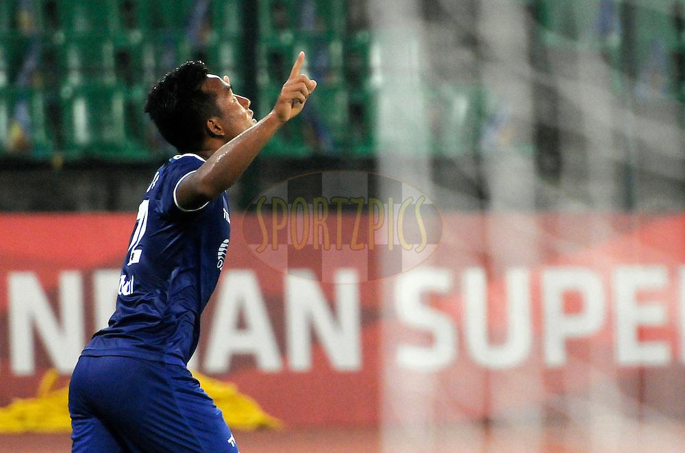 Jeje Lalpekhlua of Chennaiyin FC celebrates a goal during match 15 of the Hero Indian Super League between Chennaiyin FC and Mumbai City FC held at the Jawaharlal Nehru Stadium, Chennai, India on the 28th October 2014.<br /> <br /> Photo by:  Pal Pillai/ ISL/ SPORTZPICS