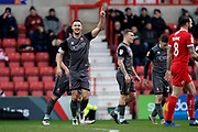 Goal, Jason Shackell of Lincoln City scores and celebrates his goal during the EFL Sky Bet League 2 match between Swindon Town and Lincoln City at the County Ground, Swindon, England on 12 January 2019.