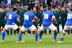 South Africa face up to The Manu Siva Tau before kick off - Mandatory byline: Rogan Thomson/JMP - 07966 386802 - 26/09/2015 - RUGBY UNION - Villa Park - Birmingham, England - South Africa v Samoa - Rugby World Cup 2015 Pool B.