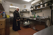 New York, NY, April 2, 2016. Franciscan Brother Paschal DeMattea, O.F.M. stands in the kitchen of St. Anthony of Padua in New York City. 04/02/2016. Photo by George Goss/NYCity News Service.