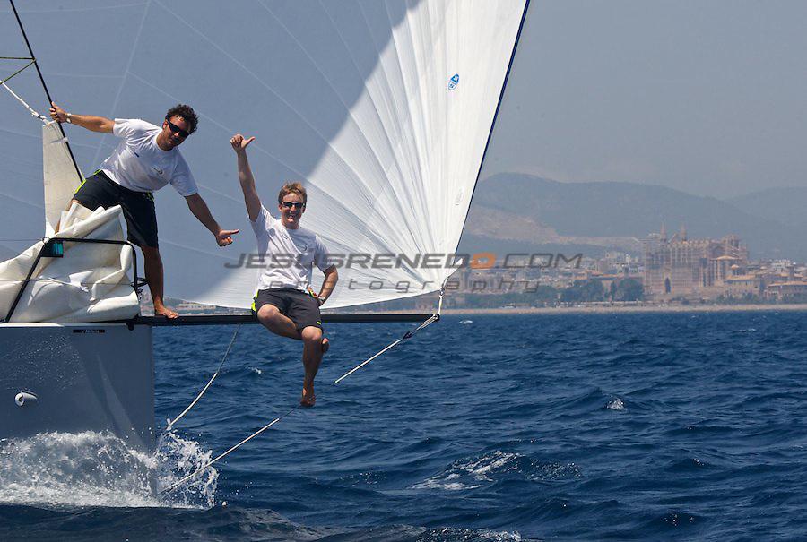 Hugo Ramo?n and Conrad Colman brand new Akilaria RC2 Class 40,Jasmine Flyer, on their presentation to the local press in Palma, ©jrenedo