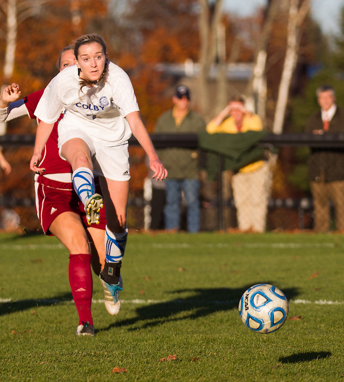 Carly Dee, of Colby College, in an NCAA Division III college soccer game against Bates College at Colby College, Wednesday Oct. 24, 2012 in Waterville, ME. (Dustin Satloff/Colby College Athletics)