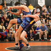 Andrew Burke of Monta Vista in the 2018 SCVAL Wrestling Finals (138 lb)(Photo by Bill Gerth)
