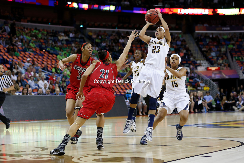 April 7, 2013; New Orleans, LA, USA; California Golden Bears guard Layshia Clarendon (23) shoots against Louisville Cardinals guard Bria Smith (21) during the first half in the semifinals during the 2013 NCAA womens Final Four at the New Orleans Arena. Mandatory Credit: Derick E. Hingle-USA TODAY Sports