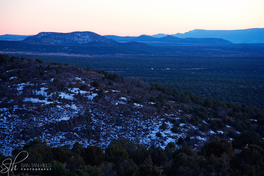 View of snowy hills off of the I-17 - south of Flagstaff, AZ
