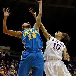 December 13, 2011; Baton Rouge, LA; UCLA Bruins guard/forward Rhema Gardner (20) shoots over LSU Lady Tigers guard Adrienne Webb (10) during the second half of a game at the Pete Maravich Assembly Center. LSU defeated UCLA 58-41. Mandatory Credit: Derick E. Hingle-US PRESSWIRE