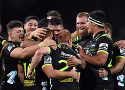 The Hurricanes celebrate their last minute 38-37 win over the Sharks in the Super Rugby match at McLean Park, Napier, New Zealand, Friday, April 06, 2018. Credit:SNPA / Ross Setford