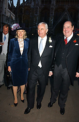 Left to right, RICHARD & MARY HAMBRO and the HON.NICHOLAS SOAMES at the wedding of Clementine Hambro to Orlando Fraser at St.Margarets Westminster Abbey, London on 3rd November 2006.<br />