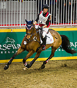 HOLLY JACKS rides More Inspiration in the Horseware Indoor Eventing Challenge at The Royal Horse Show in Toronto, Ontario. Both were eliminated after failing to complete the course due to an obstacle refusal.