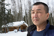 Dog musher Michi Konno at his house in Alaska. <br /> <br /> Photographer: Christina Sj&ouml;gren<br /> Copyright 2018, All Rights Reserved
