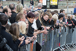 © Licensed to London News Pictures . 30/05/2015 . Manchester , UK . The crowd watch the arrivals arriving . A public memorial for Coronation Street actress Anne Kirkbride at Manchester Cathedral , who died on 19th January 2015 . Photo credit : Joel Goodman/LNP
