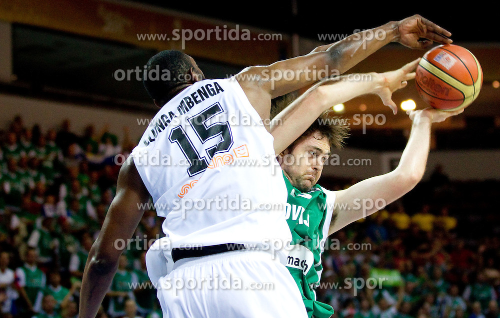 Ilunga Mbenga of Belgium vs Erazem Lorbek of Slovenia during basketball match between National teams of Belgium and Slovenia in Group D of Preliminary Round of Eurobasket Lithuania 2011, on September 4, 2011, in Arena Svyturio, Klaipeda, Lithuania.  (Photo by Vid Ponikvar / Sportida)