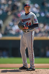May 6, 2018 - Chicago, IL, U.S. - CHICAGO, IL - MAY 06: Minnesota Twins starting pitcher Kyle Gibson (44) prepares to pitch during a game between the Minnesota Twins the Chicago White Sox on May 6, 2018, at Guaranteed Rate Field, in Chicago, IL. (Photo by Patrick Gorski/Icon Sportswire) (Credit Image: © Patrick Gorski/Icon SMI via ZUMA Press)