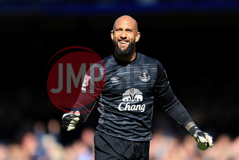Everton's Tim Howard celebrates after the third goal  - Mandatory byline: Matt McNulty/JMP - 15/05/2016 - FOOTBALL - Goodison Park - Liverpool, England - Everton v Norwich City - Barclays Premier League