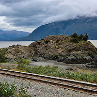 Railroad Tracks At Beluga Point along Seward Highway in Alaska<br />