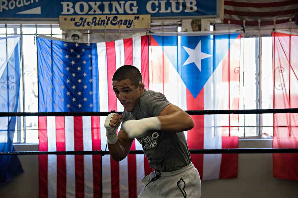 June 8, 2017 / Hollywood, Calif.<br /> <br /> Aaron Pico, 20, shadowboxes in the ring at the legendary Wild Card Boxing Club in Hollywood. (Melissa Lyttle for ESPN)