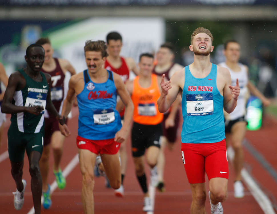 New Mexico's Josh Kerr celebrates after winning the men's 1500 meters in 3 minutes, 43.03 seconds on the third day of the NCAA outdoor college track and field championships in Eugene, Ore., Friday, June 9, 2017. (AP Photo/Timothy J. Gonzalez)