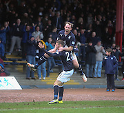 Gary Irvine congratulates Martin Boyle on his first goal for Dundee Dundee v Hamilton, SPFL Championship at <br /> Dens Park<br /> <br />  - &copy; David Young - www.davidyoungphoto.co.uk - email: davidyoungphoto@gmail.com