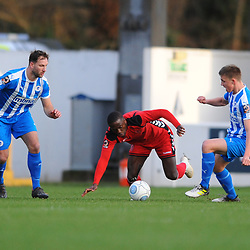 TELFORD COPYRIGHT MIKE SHERIDAN 22/12/2018 - Dan Udoh of AFC Telford is fouled during the Vanarama Conference North fixture between Chester FC and AFC Telford United at the Swansway Deva Stadium, Chester.