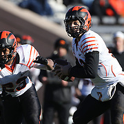 Princeton Quarterback Connor Michelsen in action during the Yale Vs Princeton, Ivy League College Football match at Yale Bowl, New Haven, Connecticut, USA. 15th November 2014. Photo Tim Clayton