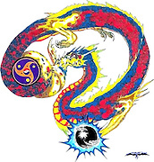 Chinese Dragon designed for a dojo, red and blue version.