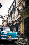 Havana Cuba, Blue 1950s vintage car on street