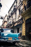 Havana Cuba, Blue 1950s vintage car on street