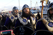 Tuesday 29th January 2013: Members of the Jarl Squad march towards the town centre during the Up Helly Aa 2013 festival in Lerwick, Shetland..Copyright 2013 Peter Horrell