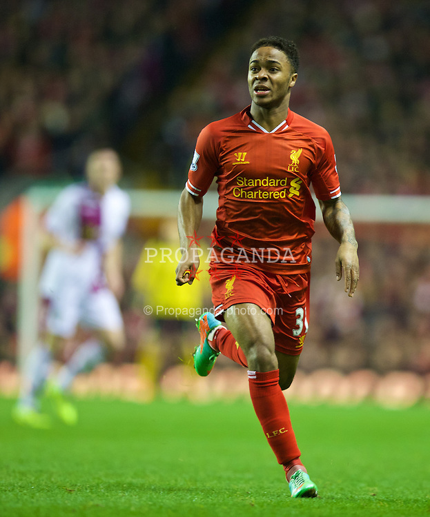 LIVERPOOL, ENGLAND - Saturday, January 18, 2014: Liverpool's Raheem Sterling in action against Aston Villa during the Premiership match at Anfield. (Pic by David Rawcliffe/Propaganda)