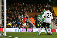 Picture by David Horn/Focus Images Ltd +44 7545 970036.29/12/2012.Danny Graham (not pictured) of Swansea City scores the opening goal during the Barclays Premier League match at Craven Cottage, London.