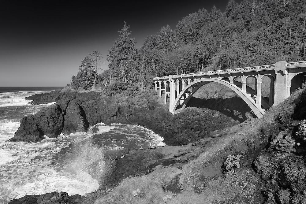 Ben Jones Bridge - Highway 101 - Oregon Coast - Infrared Black & White